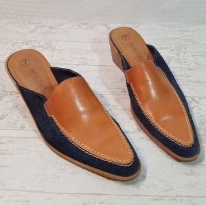 Predictions Leather Collection Leather Denim Mules